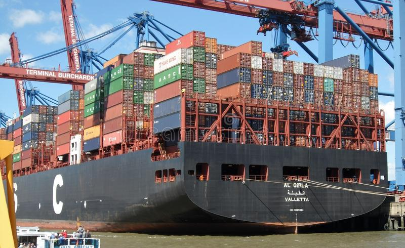 Container Ship, Water Transportation, Panamax, Shipping Container stock photography