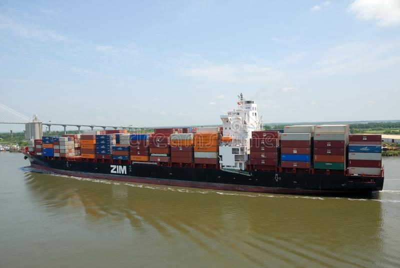 Container Ship, Waterway, Water Transportation, Panamax stock image