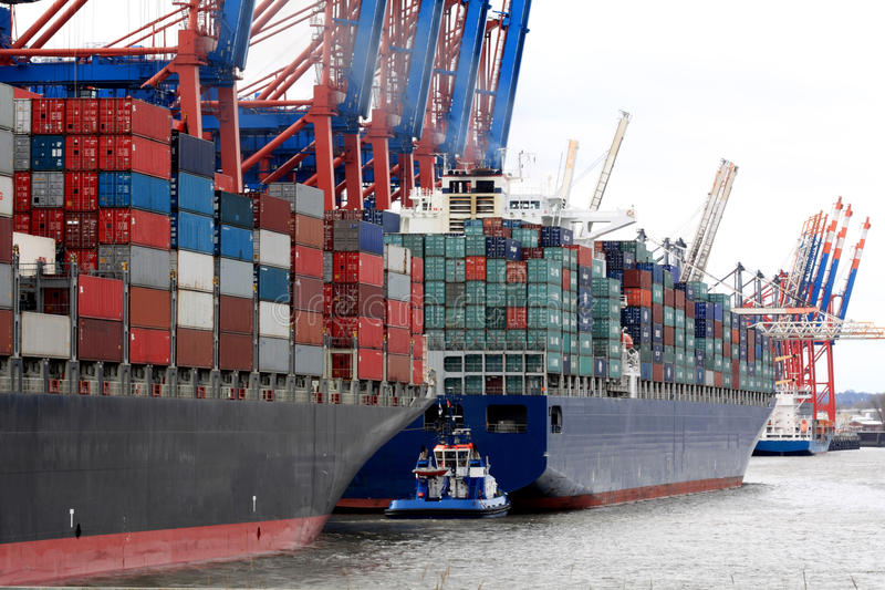 Container ships in harbor stock photos