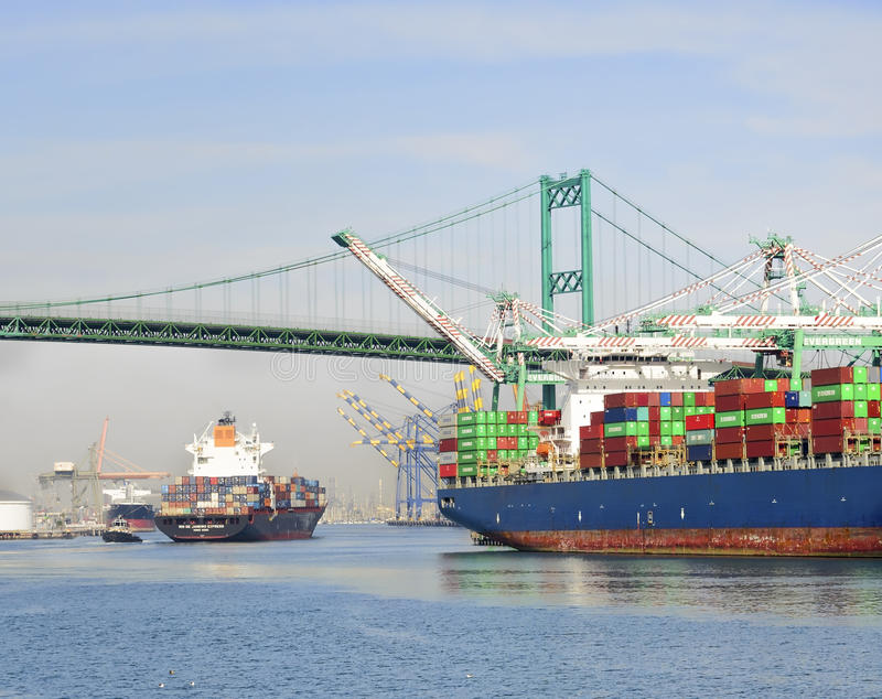 Container ships, Port of Los Angeles royalty free stock image