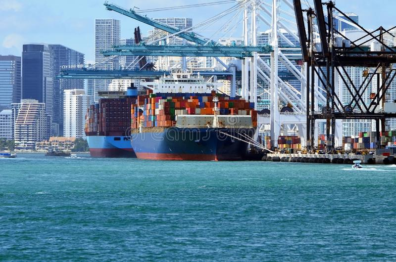 Container Ships in the Port of Miami stock images