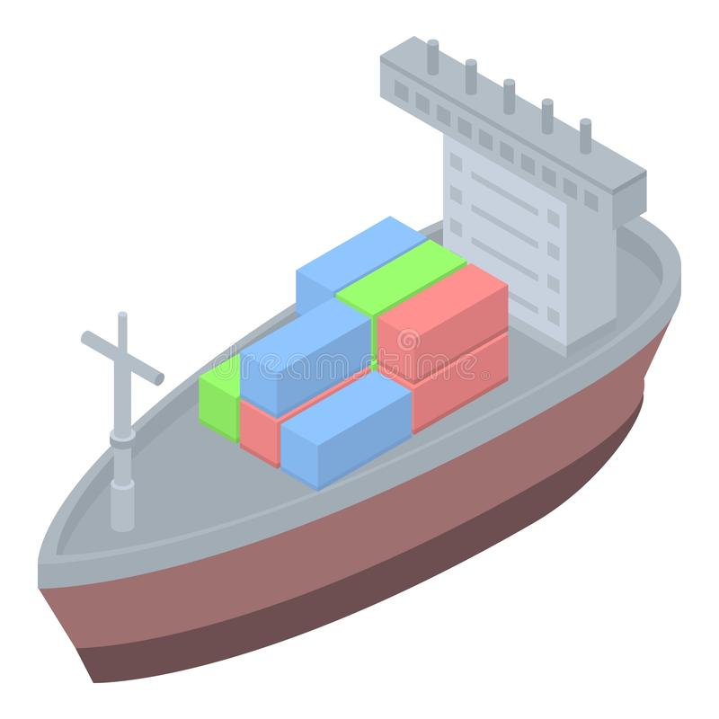 Container tanker icon, isometric style royalty free illustration