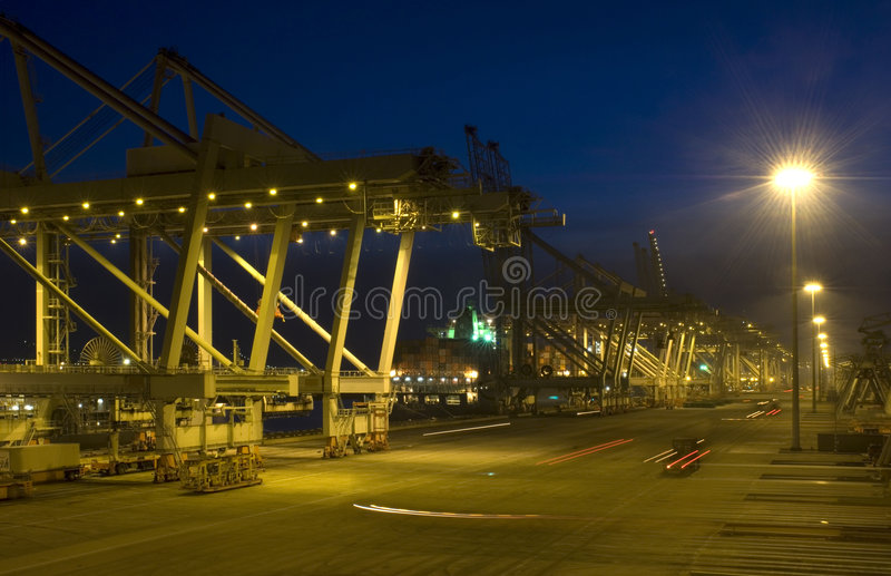 Container Terminal at dusk stock images
