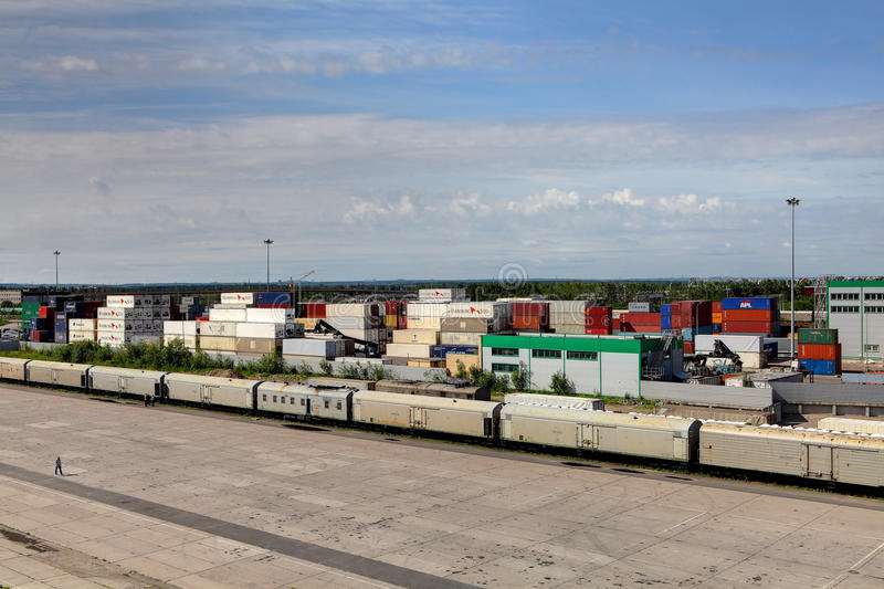 Container terminal and freight train. royalty free stock photography