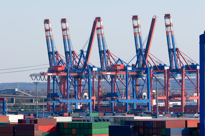 Container Terminal Hamburg royalty free stock images