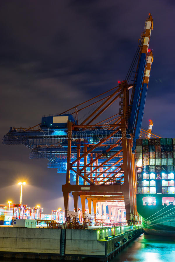 Container Terminal. Loading of a cargo ship royalty free stock images