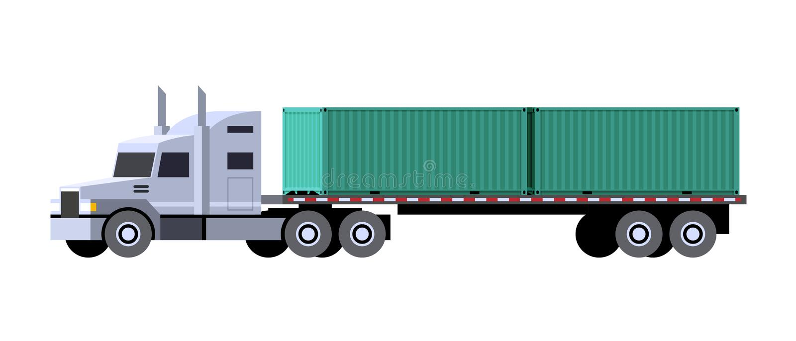 Container tractor truck. Minimalistic icon tractor truck with semi trailer containers. Front side view. Container vehicle. Vector isolated illustration stock illustration
