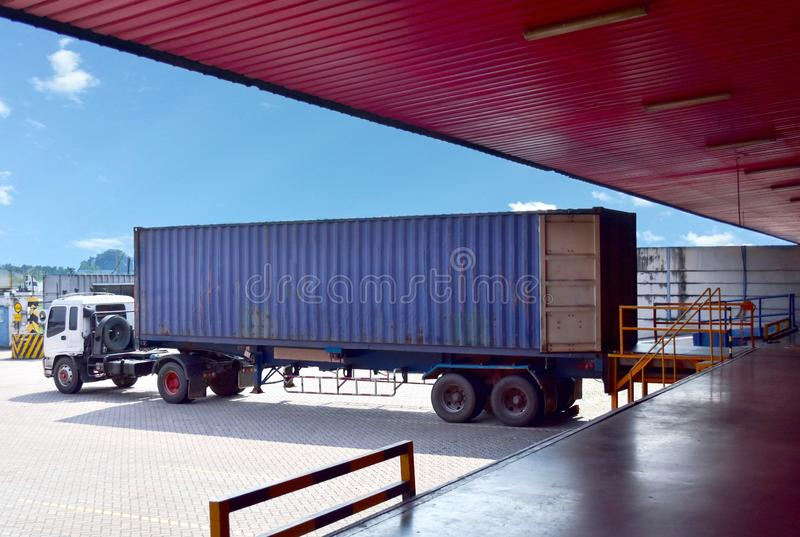Container truck align with dock leveller at distribution warehouse for stuffing cargo. Empty 40 foot container on trailer arrive at warehouse`s dock prepared royalty free stock photos