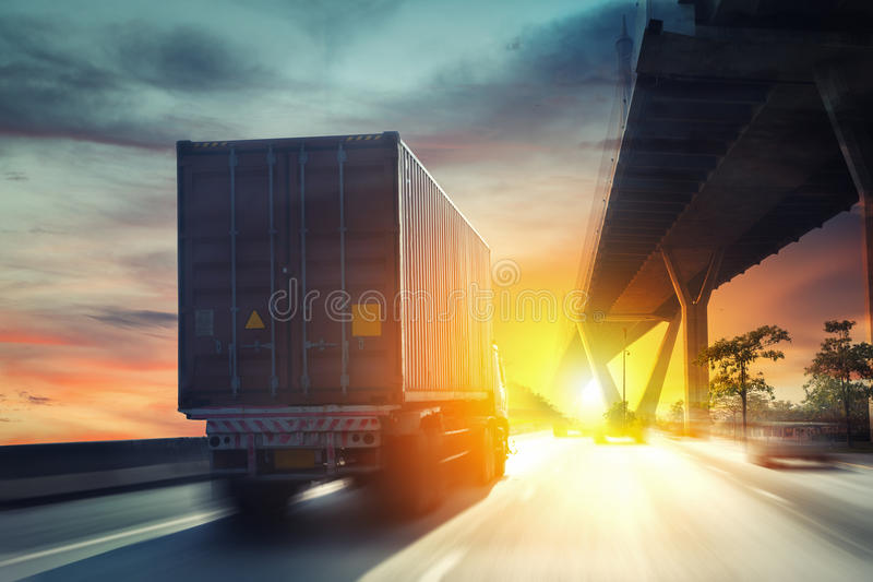 Container truck stock photo
