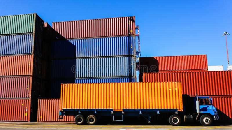 Container and Truck in the Port stock photos