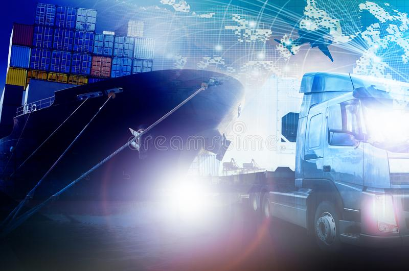 Container truck and shipping ship for freight and cargo logistic royalty free stock photography