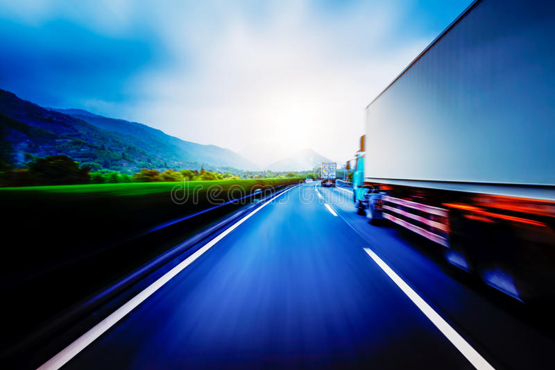 Container truck transport stock images