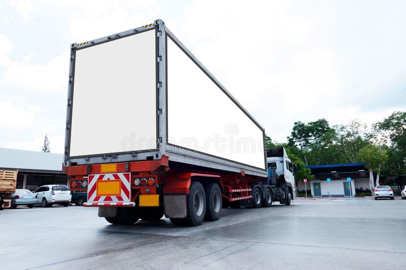 Container trucks Logistic by Cargo truck on the road .empty white billboard .Blank space for text and images royalty free stock photos