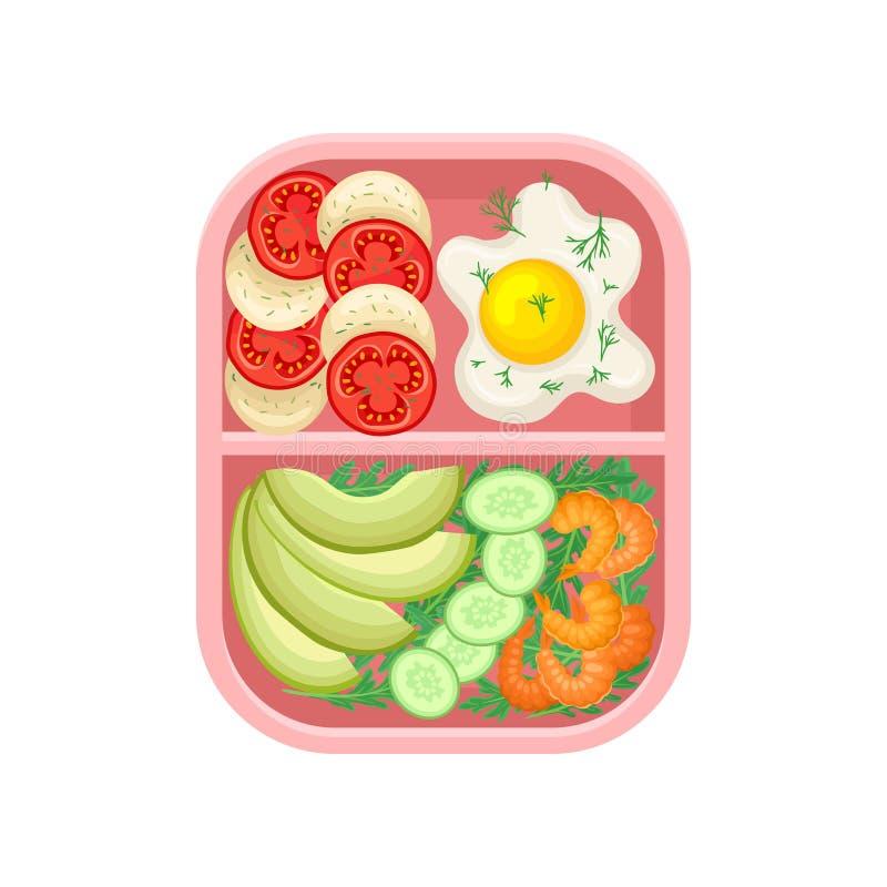 Container in twee secties met voedsel Vector illustratie royalty-vrije illustratie