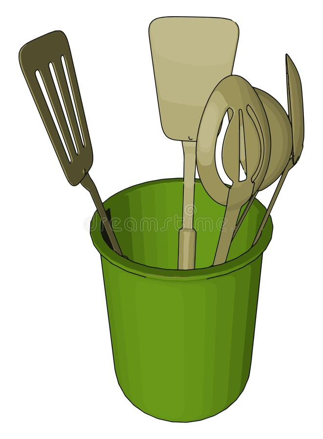 A container for kitchen vector or color illustration. A container used for keeping kitchen items like spoon It prevent kitchen wares from cooking fluids and vector illustration