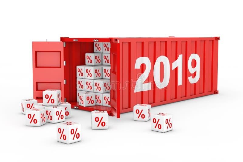2019 Container van het Nieuwjaar de Rode Vervoer over zee met Kortingspercenten stock illustratie