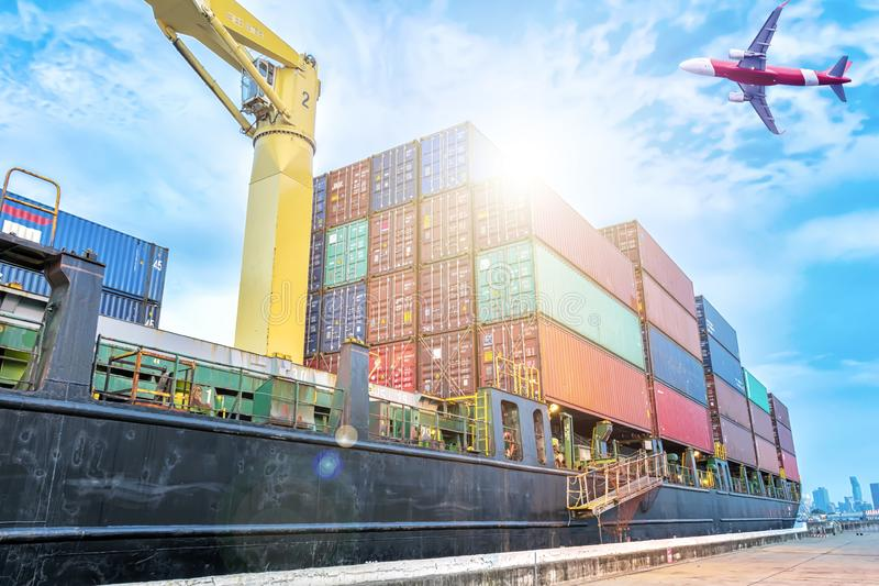 Container warehouse for delivery shipment transport, import export to global logistics concept. by boat and plane. Business royalty free stock image