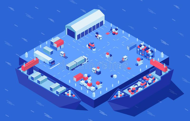 Container yard isometric vector illustration. Freight transport, merchandise and industrial cargo at logistics hub. Container yard isometric vector illustration vector illustration