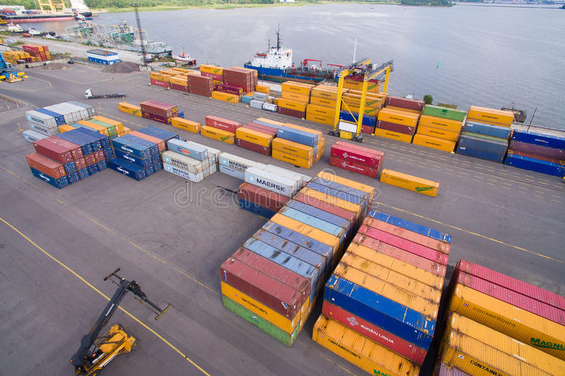 Container yard in the seaport royalty free stock photo