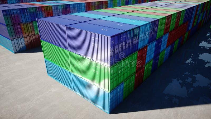 Containerdepot, pakhuis, zeehaven Aerilmening De containers van de lading Logistisch en bedrijfsconcept het 3d teruggeven vector illustratie