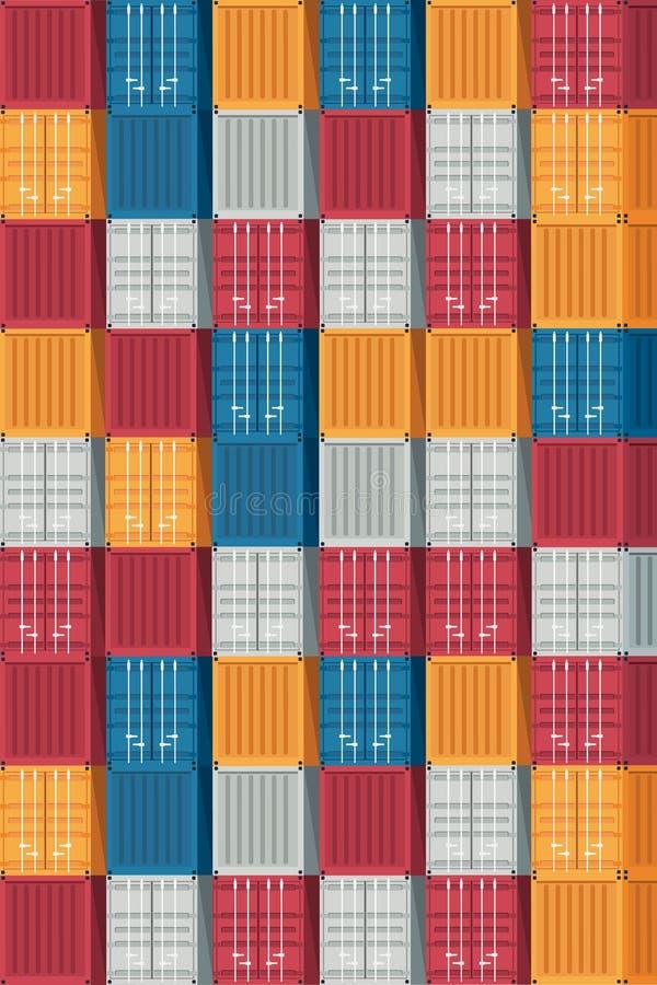 Containerlogistiek en de achtergrond van het Vervoerspatroon Vecto stock illustratie