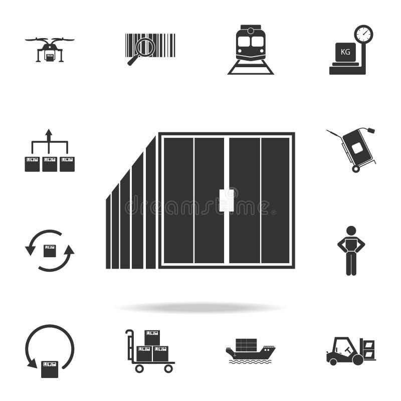 Containerpictogram Gedetailleerde reeks logistische pictogrammen Premie grafisch ontwerp Één van de inzamelingspictogrammen voor  royalty-vrije illustratie