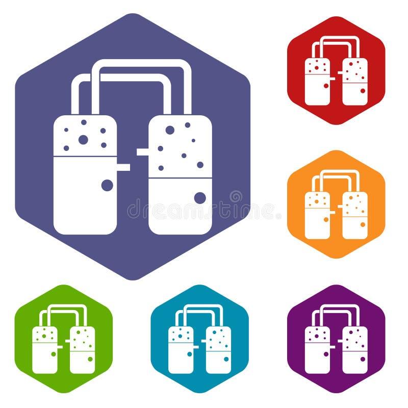 Containers aan buizenpictogrammen worden aangesloten geplaatst die hexagon stock illustratie