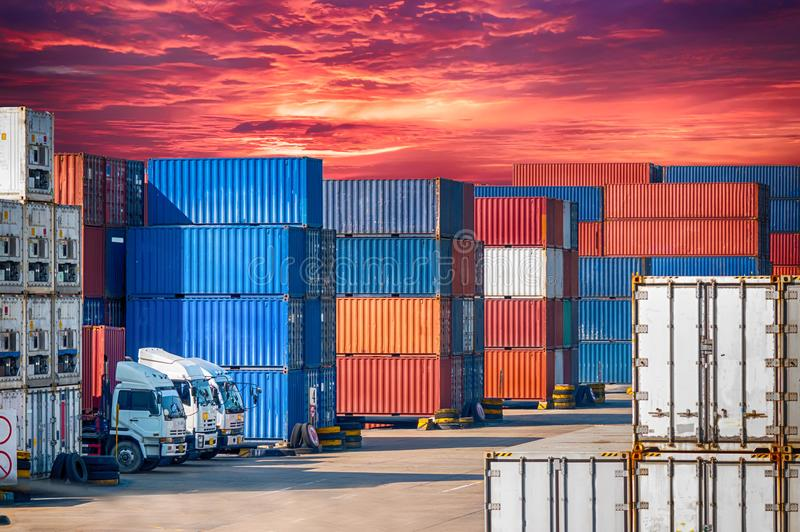 Containers box to truck for Logistics. Containers box with truck for Logistics Import Export Background stock photo