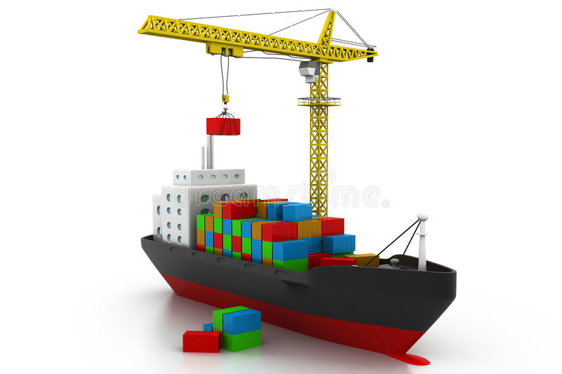 Containers cargo ship. 3d render of containers cargo ship stock illustration