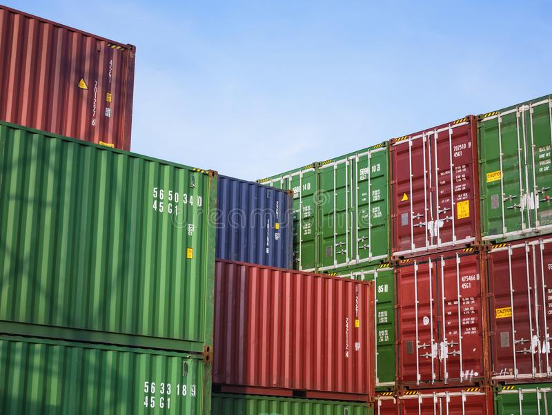 Containers Cargo shipping Logistic freight warehouse Transport Business. Containers Cargo shipping Logistic freight warehouse Transport Import Export Business stock photos