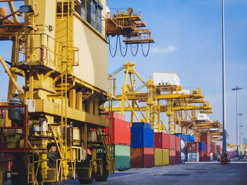 Containers Cargo shipping Logistic freight warehouse Transport. Business royalty free stock image