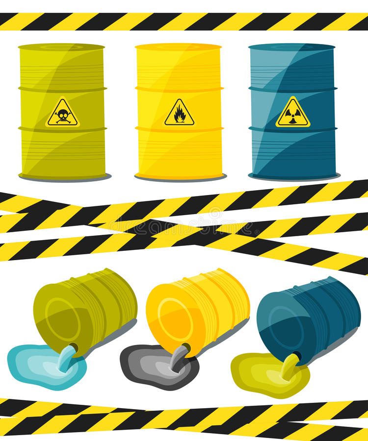 Containers with explosive and reactive substances, waste of chemical industry. Flow of dangerous toxic chemicals. Oil. Vector stock illustration