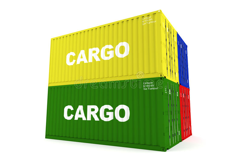 Containers. Four containers for the carriage of goods stacked. Containers of different colors royalty free illustration
