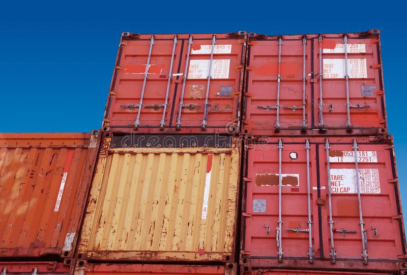 Containers for freight transport. The Containers for freight transport stock photos