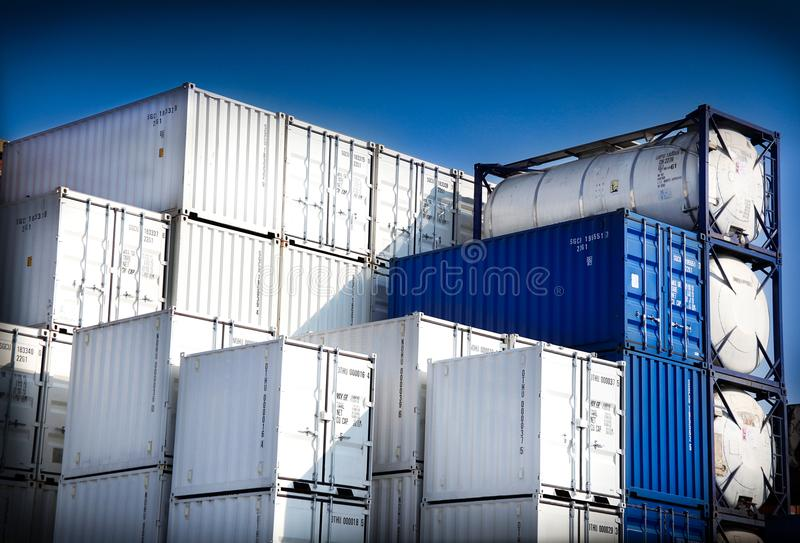 Containers for freight transport. The Containers for freight transport royalty free stock images
