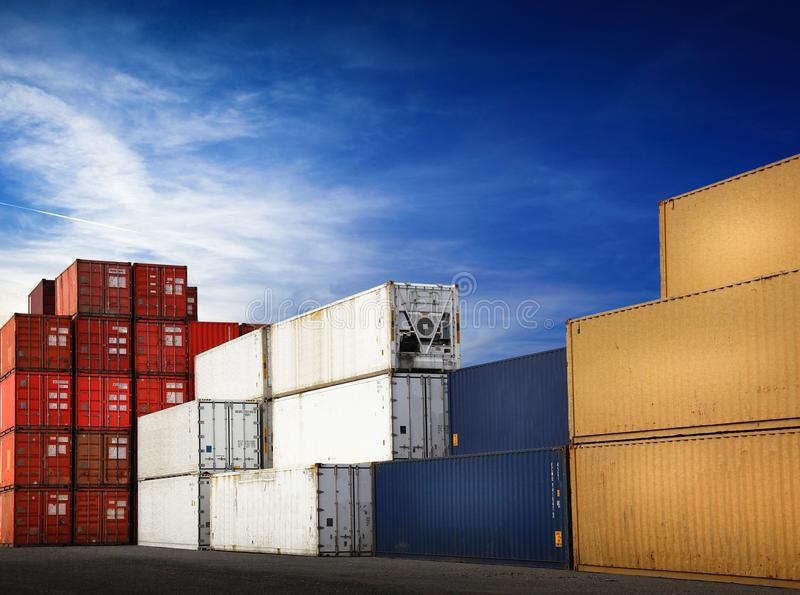 Containers for freight transport. The Containers for freight transport stock images