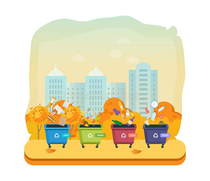 Containers for garbage of different types, on autumn street city. Containers for garbage of different types, on autumn street of city. Garbage cans for paper royalty free illustration