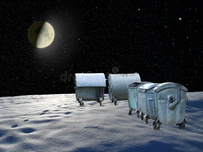 Containers for garbage on planet in space. Space garbage. Global pollution. Human interference. Human carelessness stock images