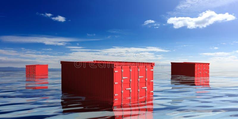 Containers in het overzees 3D Illustratie stock illustratie