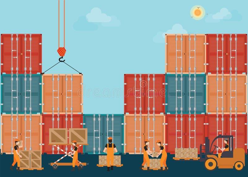 Containers met crain en Arbeiders die aan Ladingsdozen werken stock illustratie