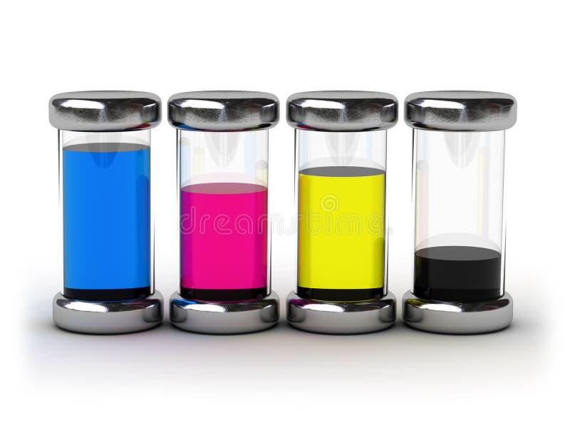 Containers met inkt CMYK stock illustratie