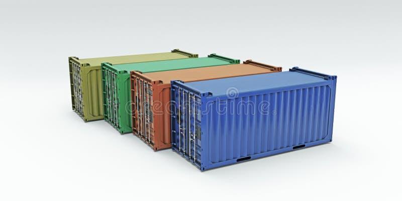 Containers op witte achtergrond worden geïsoleerd die royalty-vrije illustratie