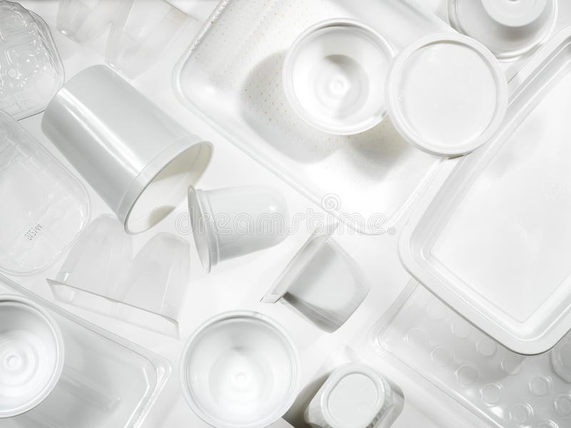 Containers of plastic and polystyrene stock photos