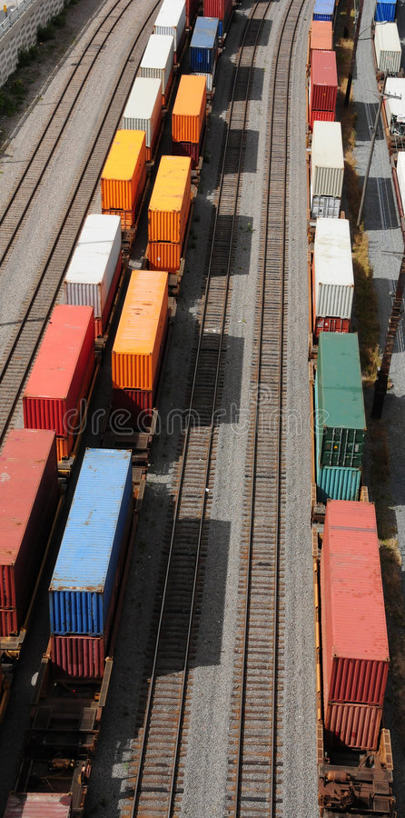 Containers on rails stock image