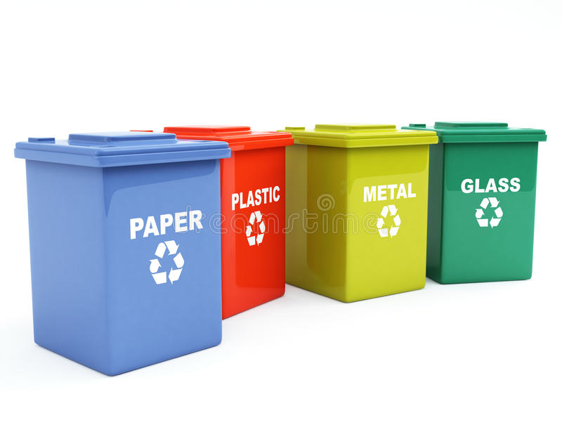Containers for recycling. Paper, metal, plastic and glass vector illustration