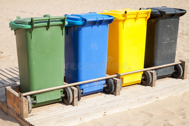 Containers in a row for separate garbage collection royalty free stock image