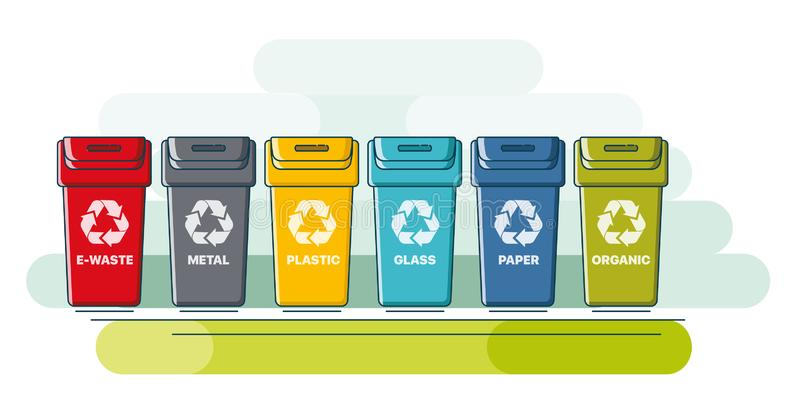 Containers for sorting waste royalty free illustration