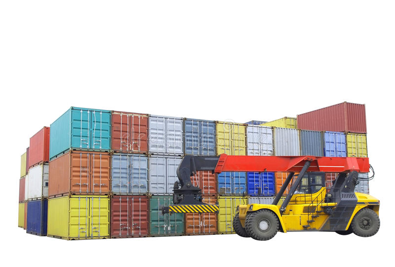 Download Containers stacked stock image. Image of dock, jetty - 24303299