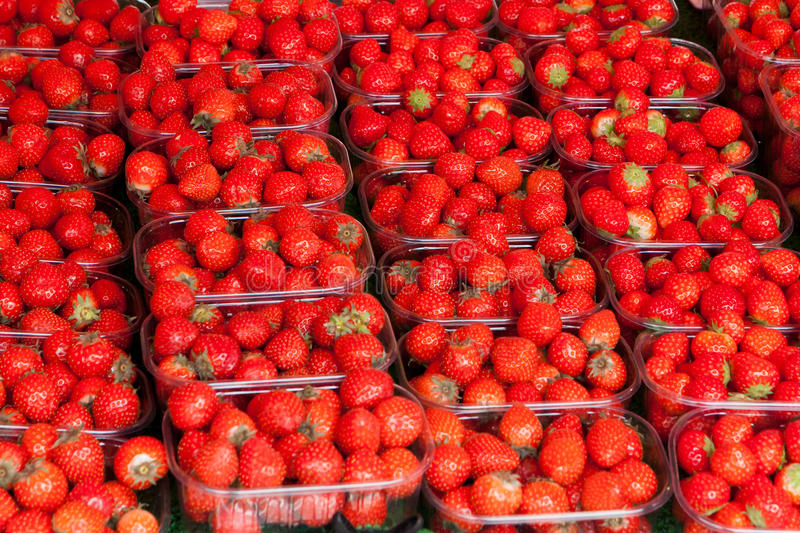 Containers with strawberry on a counter. Of shop stock photos