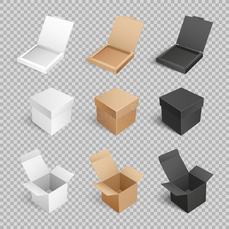 Containers Templates Vector Icons Boxes Packages. Containers templates vector icons. Boxes and packages made of paper and carton on transparent. Mockup of royalty free illustration